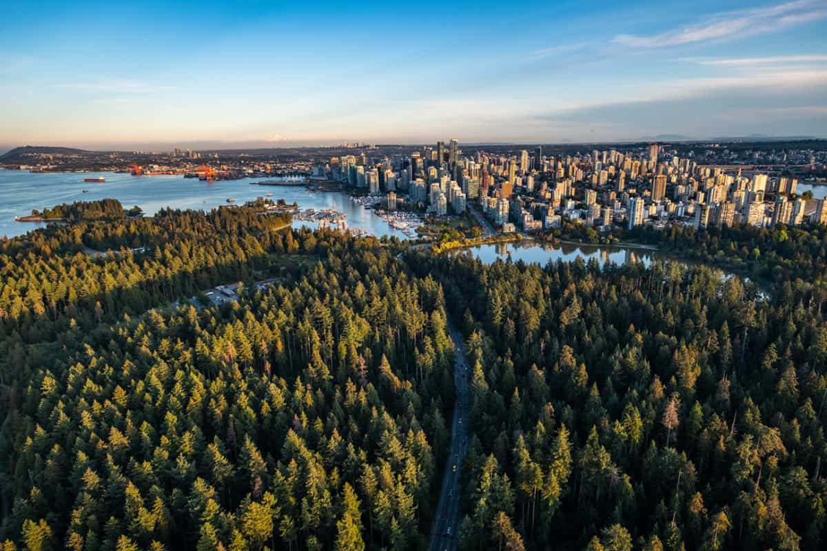 Aerial view of Stanley Park Vancouver