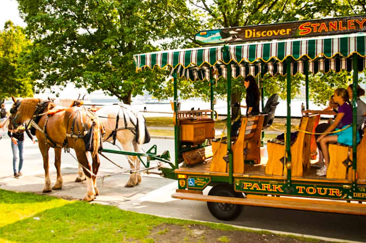 Trolley being pulled by two horses