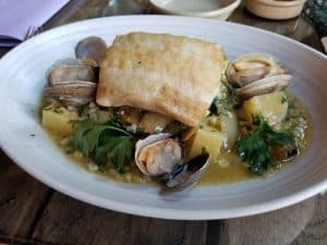 Plate of ling cod and clams